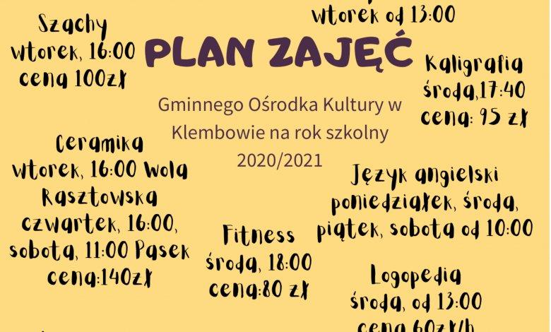 Plan zajęć w GOK na rok szkolny 2020/2021